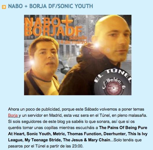 NABO+BORJADF DJs en EL TÚNEL (sábado 14, 23:00hh)