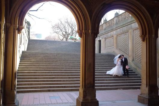 Una sesión de fotos de boda en Central Park.