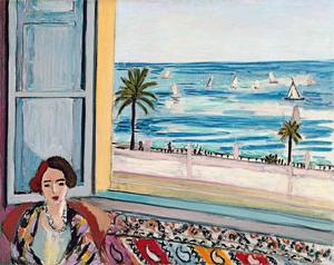 Mujer sentada, con la espalda vuelta a la ventana abierta