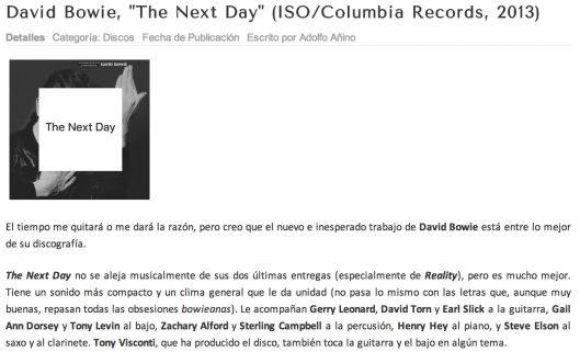 "Mi crítica de ""The Next Day"", de David Bowie, en Indienauta.com."