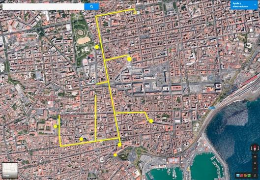 Plano de Catania. Están marcados los principales recorridos y puntos de interés.