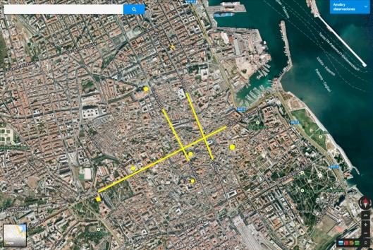 Plano de Palermo. Están marcadas algunas vías principales y lugares de interés que comento en el texto.