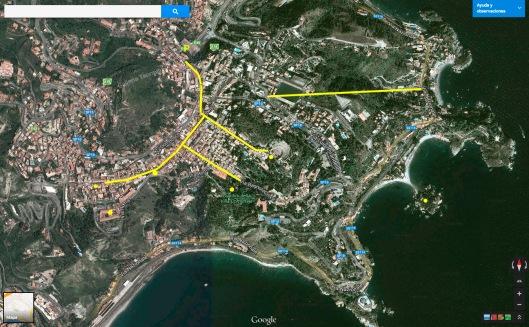 Plano de Taormina. Está marcada la via Umberto I y el recorrido del funicular, así como algunos de los lugares que comento en el texto.