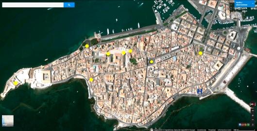 Vista aérea de la isla de Ortigia (Siracusa), con algunos puntos de interés.